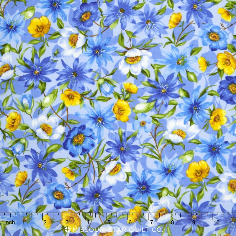 Summer Breeze Iv Spring Garden Blue Yardage Moda