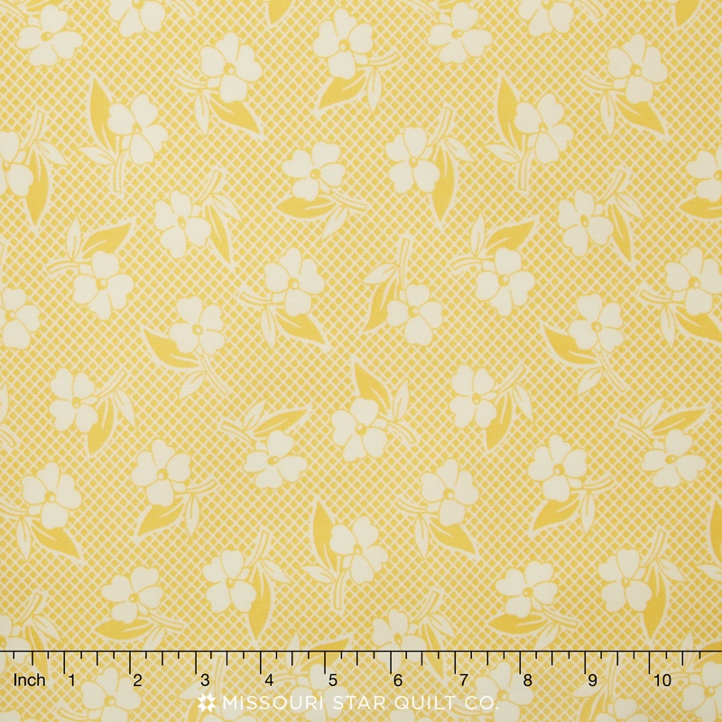 Fresh Air Yellow Two Toned Floral Yardage American