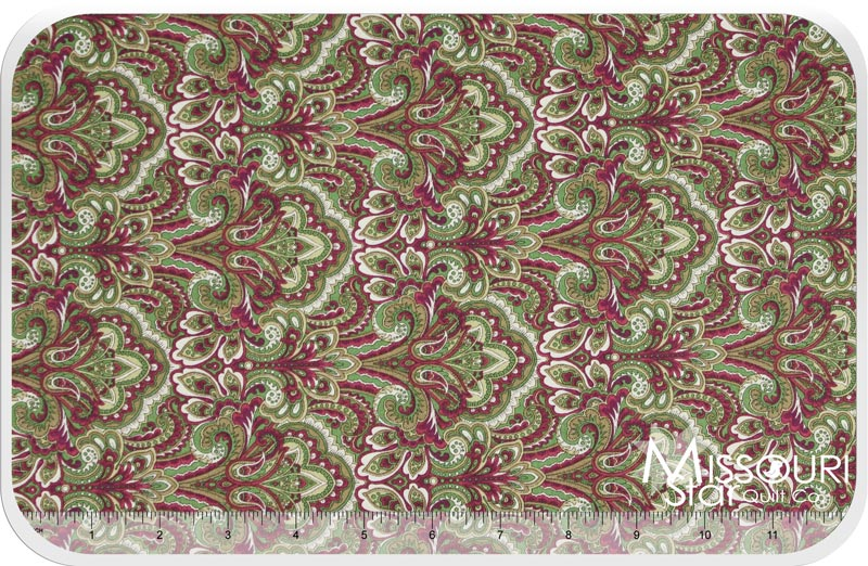 Arabella Rose - Red Paisley Yardage