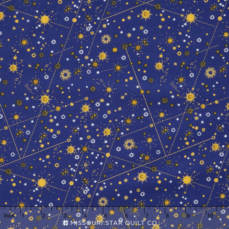 Celestial stars blue metallic yardage whistler studios for Celestial pattern fabric