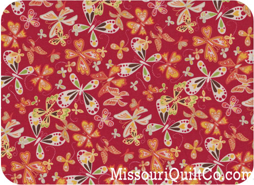 Katie - Butterflies Red Yardage