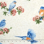 Bluebird Gathering - Cutable Bluebirds Cream Yardage
