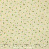 Block Party - Posies Cream Aqua Yardage