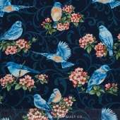 Bluebird Gathering - Tossed Bluebirds Yardage