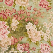 Serene Garden - Green Flower Yardage