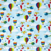 Travel Around the World - Airplanes/Helicopters/Hot Air Balloons Light Blue Yardage