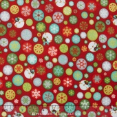 Ho Ho Ho Let It Snow - Drifting Snowflakes Red Yardage
