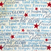 Stonehenge Land of the Free - Cream Patriotic Words Yardage