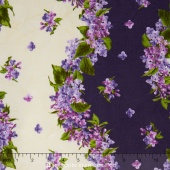 Fresh Lilacs - Large Wavy Violet Stripe Yardage