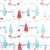 Pixie Noel - Pixie Trees White Yardage