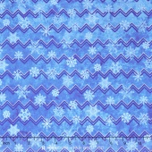 Stonehenge - Reindeer Prance Metallic Blue Snow Flakes Stripes Yardage
