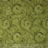 Poppies - Elegant Scroll Green Yardage