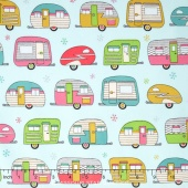 On the Road - Vintage Campers Aqua Metallic Yardage