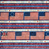 Stonehenge - Old Glory Stars & Stripes IV Flag Stripe Patriotic Blue Multi Yardage