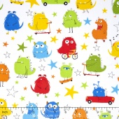 Monsters - Monsters Primary White Yardage