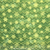 Stonehenge - Reindeer Prance Metallic Green Snow Flake Stripes Yardage