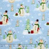 Woodland Noel - Snowmen Light Blue Flannel Yardage
