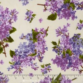 Fresh Lilacs - Cream on Large Tossed Purple Blooms Yardage