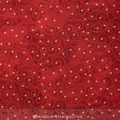 Stonehenge - Starry Night 2 Metallic Red Star Swirls Yardage