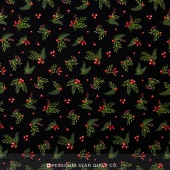 Songbird Christmas - Leaves & Berries Black Yardage