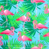 Bahama Breeze - Pink Flamingo Powder Blue Yardage