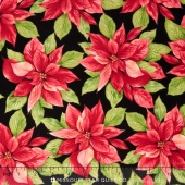 Songbird Christmas - Poinsettia Black Yardage