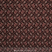 Rosewater c.1880 - Flower Grid Chocolate Yardage