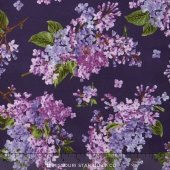 Fresh Lilacs - Violet on Tossed Large Purple Blooms Yardage