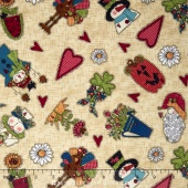 Doodle Days Calendar - Character All-Over Cream Yardage