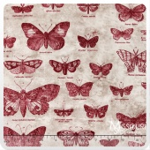 Eclectic Elements - Butterflight Red Yardage