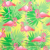 Bahama Breeze - Pink Flamingo Yellow Yardage