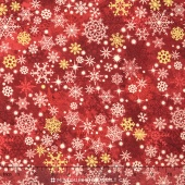 Stonehenge - Reindeer Prance Metallic  Red Snow Flakes Yardage