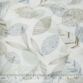 Flutter - Leaves Silver Yardage