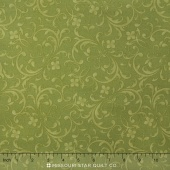 Fresh Lilacs - Green Tonal Scroll Yardage