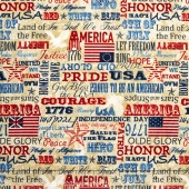 Stonehenge - Old Glory Stars & Stripes IV American Inspirations Beige Multi Yardage