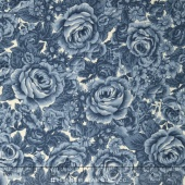 Belcourt - Tonal Roses Dusty Blue Yardage