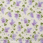 Fresh Lilacs - White on Violet Tossed Blooms Yardage
