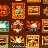 Jumping Java - Coffee Labels Coffee Yardage