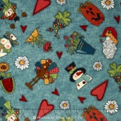 Doodle Days Calendar - Character All-Over Blue Yardage
