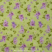 Fresh Lilacs - Green on Violet Tossed Blooms Yardage
