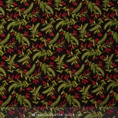 Tole Christmas - Berries & Pine Midnight Yardage