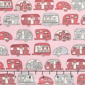 On the Road - Floral Campers Pink Metallic Yardage