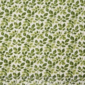 Fresh Lilacs - Green on Cream Leaves Yardage