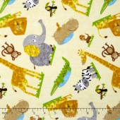 Safari Expedition - Tossed Mixed Animals Ivory Yardage