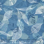 Flutter - Leaves Blue Yardage