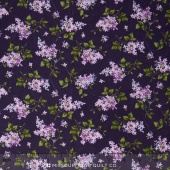 Fresh Lilacs - Violet on Tossed Purple Blooms Yardage