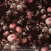 Rosewater c.1880 - Main Floral Chocolate Yardage