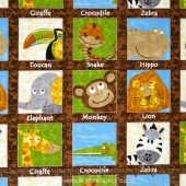 Safari Expedition - Animals In Squares Brown Yardage