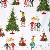 How the Grinch Stole Christmas 5 - Christmas Grinch Collage White Yardage