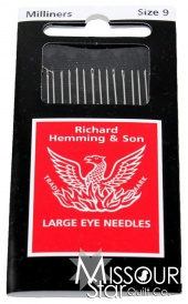 Large Eye Sewing Needles - Milliners (Size 9)